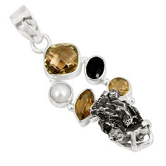 Natural campo del cielo (meteorite) pearl 925 silver pendant jewelry d23385