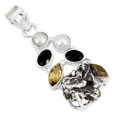 Natural campo del cielo (meteorite) pearl 925 sterling silver pendant d23397