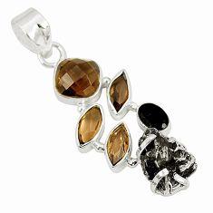 Natural campo del cielo (meteorite) 925 sterling silver pendant d23402