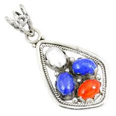 4.80cts natural orange cornelian (carnelian) 925 silver pendant d23541