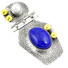 Victorian natural blue lapis lazuli 925 silver two tone pendant jewelry d24083