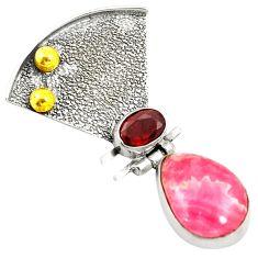 Natural pink rhodochrosite inca rose 925 silver two tone pendant d24089