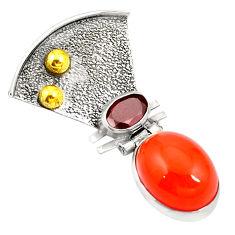 Clearance Sale- Natural orange cornelian (carnelian) 925 silver two tone pendant d24090