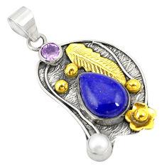 Victorian natural blue lapis lazuli pearl 925 silver two tone pendant d24093