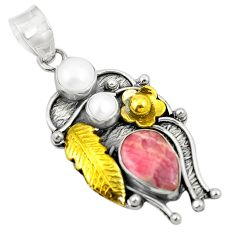 Clearance Sale- 925 silver natural pink rhodochrosite inca rose pearl two tone pendant d24095