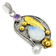 Victorian natural rainbow moonstone pearl 925 silver two tone pendant d24099