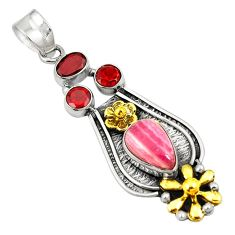 Clearance Sale- Natural pink rhodochrosite inca rose 925 silver two tone pendant d24116