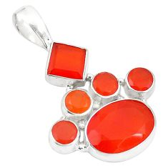 Natural orange cornelian (carnelian) 925 sterling silver pendant d24123