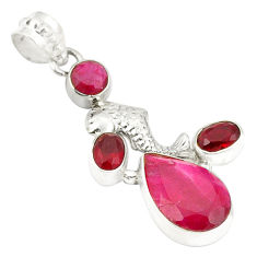 Natural red ruby garnet 925 sterling silver pendant jewelry d24125