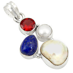 Natural white pearl lapis lazuli 925 sterling silver pendant jewelry d24150