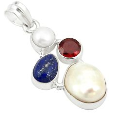 Natural white pearl red garnet 925 sterling silver pendant jewelry d24156