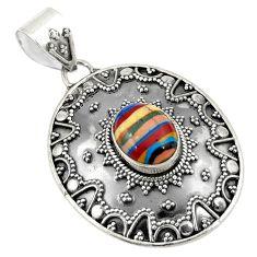Natural multi color rainbow calsilica 925 sterling silver pendant d24167