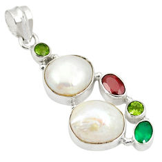 Clearance Sale- Natural white pearl chalcedony peridot 925 sterling silver pendant d24171