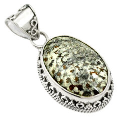 Natural black stingray coral from alaska 925 silver pendant jewelry d24192