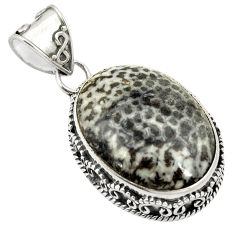 Clearance Sale- Natural black stingray coral from alaska 925 silver pendant jewelry d24197