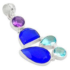 925 silver natural blue chalcedony amethyst quartz topaz pendant d24224