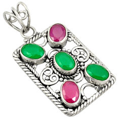 Green emerald red ruby quartz 925 sterling silver pendant jewelry d24227