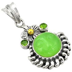 Natural green chalcedony peridot quartz 925 sterling silver pendant d24231