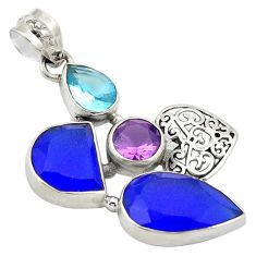 925 sterling silver natural blue chalcedony amethyst topaz pendant d24240