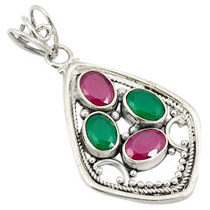 Green emerald red ruby quartz 925 sterling silver pendant jewelry d24243