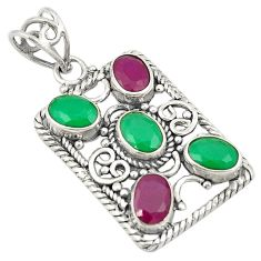 Green emerald red ruby quartz 925 sterling silver pendant d24252