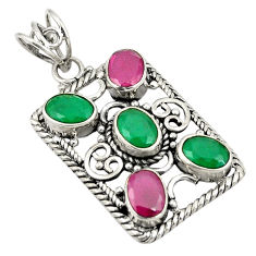 Clearance Sale- Red ruby green emerald quartz 925 sterling silver pendant d24261