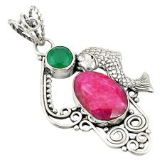 Red ruby green emerald quartz 925 sterling silver fish pendant jewelry d24263