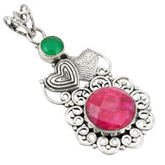 925 silver red ruby green emerald quartz couple hearts pendant d24264