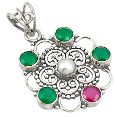 Clearance Sale- 925 sterling silver red ruby green emerald quartz pearl pendant d24270