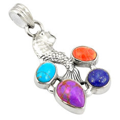 Multi color copper turquoise lapis lazuli 925 silver pendant jewelry d24273