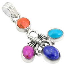 Multi color copper turquoise 925 silver scorpion pendant jewelry d24275