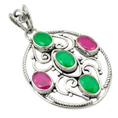 Clearance Sale- Red ruby green emerald quartz 925 sterling silver pendant d24278