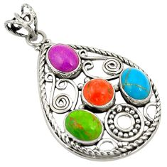 925 sterling silver multi color copper turquoise pendant jewelry d24283