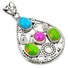 Copper turquoise oval 925 sterling silver pendant jewelry d24287