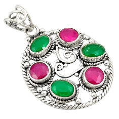 Green emerald red ruby quartz 925 sterling silver pendant d24295