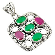 Green emerald red ruby quartz 925 sterling silver pendant d24301
