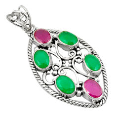 Green emerald red ruby quartz 925 sterling silver pendant d24302