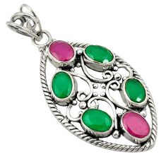 Green emerald red ruby quartz 925 sterling silver pendant jewelry d24305