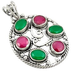 Green emerald red ruby quartz 925 sterling silver pendant jewelry d24306