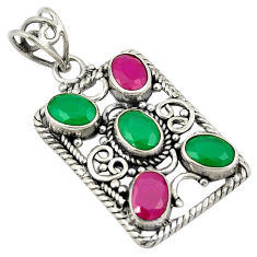 Green emerald red ruby quartz 925 sterling silver pendant jewelry d24307