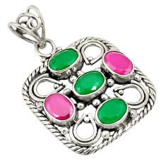 Clearance Sale- Green emerald red ruby quartz 925 sterling silver pendant jewelry d24310
