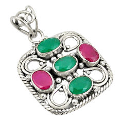 Green emerald red ruby quartz 925 sterling silver pendant jewelry d24311