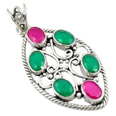 Green emerald red ruby quartz 925 sterling silver pendant d24315