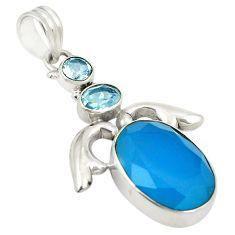 Natural aqua chalcedony blue topaz 925 sterling silver pendant d24326