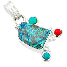 Clearance Sale- 925 sterling silver natural blue chrysocolla turquoise pendant jewelry d24337
