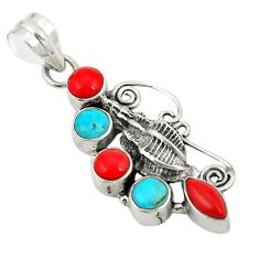 Red coral sleeping beauty turquoise 925 sterling silver pendant d24354
