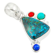 925 sterling silver natural blue chrysocolla turquoise pendant jewelry d24356