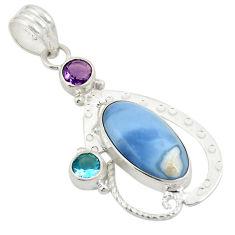 Clearance Sale- Natural blue owyhee opal amethyst 925 sterling silver pendant d24381