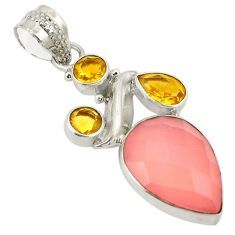 Natural pink rose quartz citrine 925 sterling silver pendant jewelry d24389