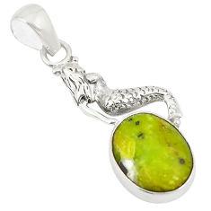 Natural yellow lizardite (meditation stone) 925 silver pendant jewelry d24391